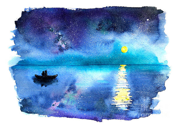 Stylish Wall Art - Digital Art - Romantic Starry Night Lake View With by Katerina Izotova Art Lab
