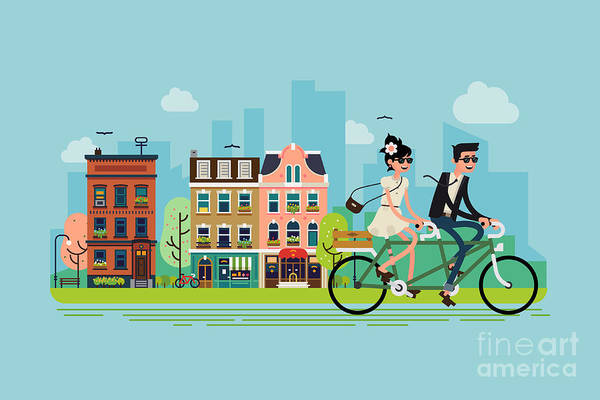 Ride Digital Art - Romantic Vector Concept Illustration On by Mascha Tace