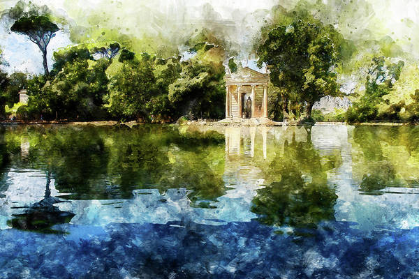 Painting - Rome, Ancient Temple Of Aesculapius - 08 by Andrea Mazzocchetti