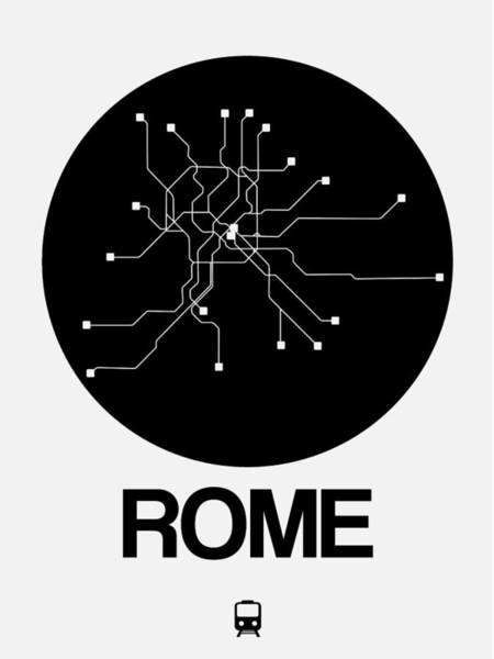 Wall Art - Digital Art - Rome Black Subway Map by Naxart Studio