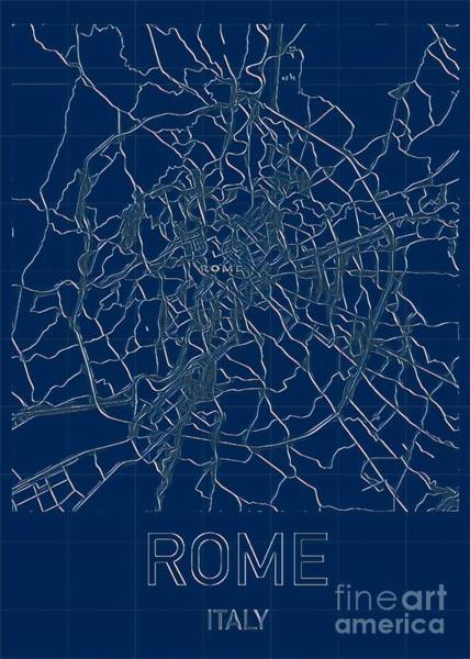 Digital Art - Rome Blueprint City Map by Helge