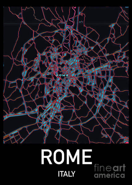 Digital Art - Rome City Map by Helge