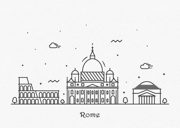 Drawing - Rome Cityscape Travel Poster by Inspirowl Design