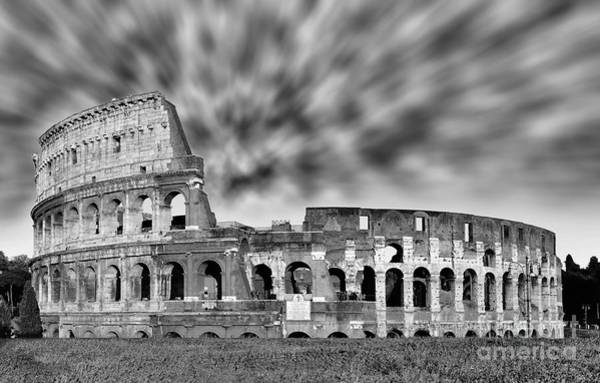 Wall Art - Photograph - Rome Drama - Colosseum Black And White by Stefano Senise