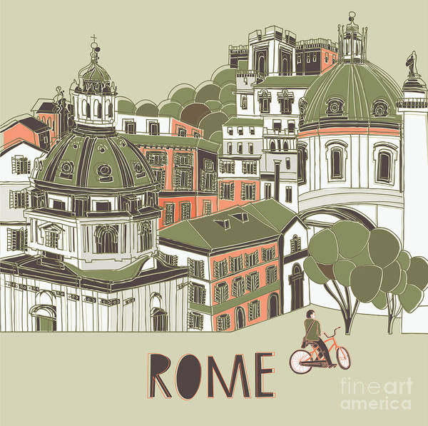Wall Art - Digital Art - Rome Greeting Card Design by Lavandaart