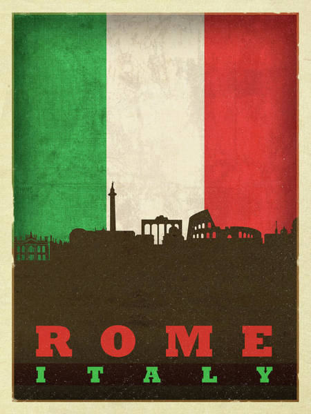 Wall Art - Mixed Media - Rome Italy City Skyline Flag by Design Turnpike