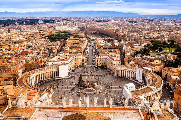 Medieval Town Photograph - Rome, Italy. Famous Saint Peters Square by S-f
