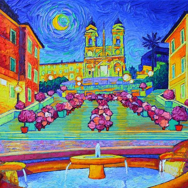 Painting - Rome Magic Moon Night Textural Impressionist Impasto Palette Knife Oil Painting Ana Maria Edulescu  by Ana Maria Edulescu