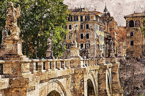 Painting - Rome, Ponte Sant'angelo - 01 by Andrea Mazzocchetti