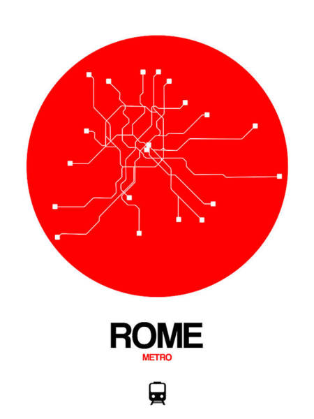 Wall Art - Photograph - Rome Red Subway Map by Naxart Studio