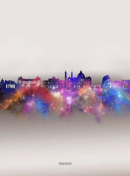 Wall Art - Digital Art - Rome Skyline Galaxy by Bekim M