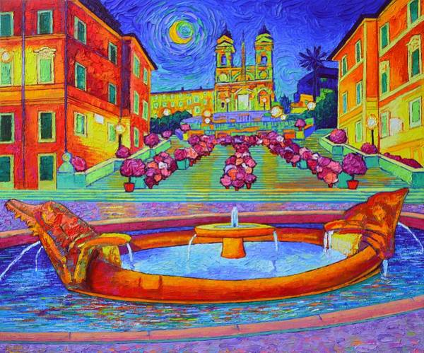 Painting - Rome Spanish Steps By Moonlight Textural Impressionist Impasto Knife Oil Painting Ana Maria Edulescu by Ana Maria Edulescu