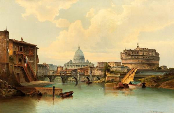 Wall Art - Painting - Rome, View Of Castel Sant - Angelo by Karl Kaufmann
