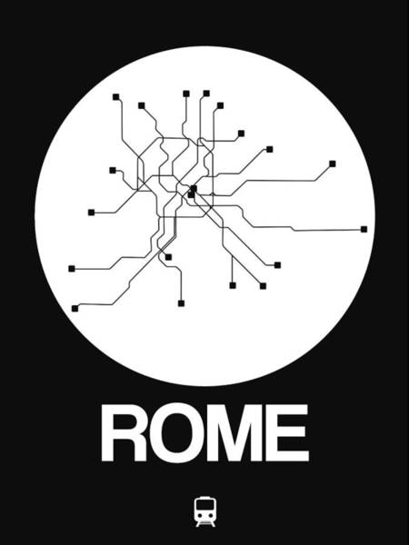Wall Art - Digital Art - Rome White Subway Map by Naxart Studio