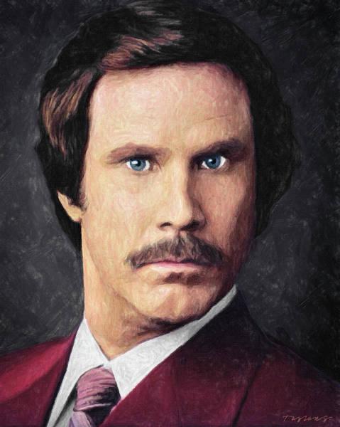 Mustache Painting - Ron Burgundy by Zapista Zapista
