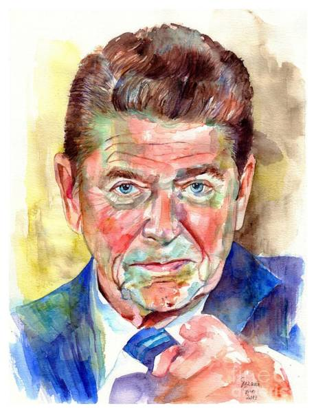 Wall Art - Painting - Ronald Reagan Portrait by Suzann Sines