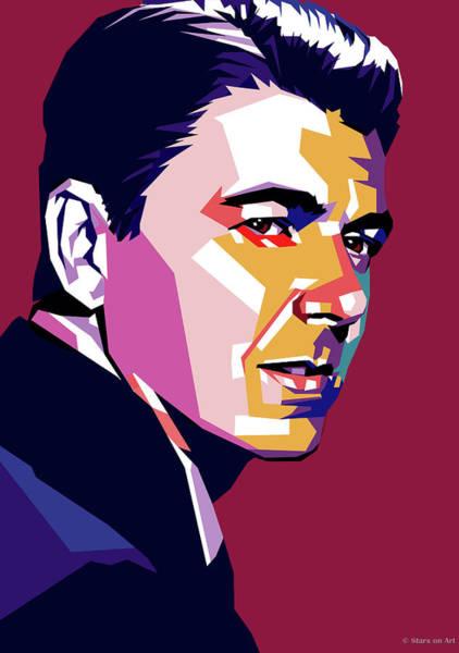 Digital Art - Ronald Reagan by Stars on Art
