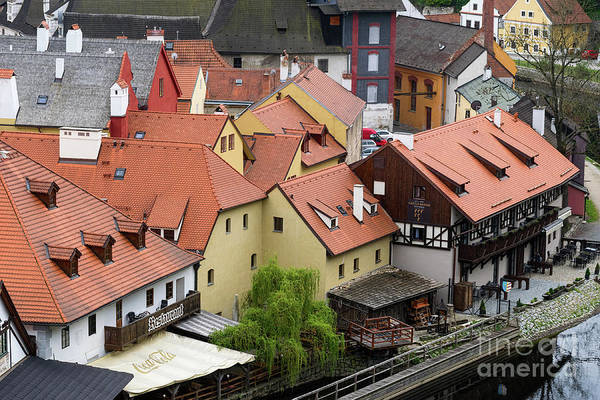 Photograph - Roofs And Dormer Windows In Cesky Krumlov by Les Palenik