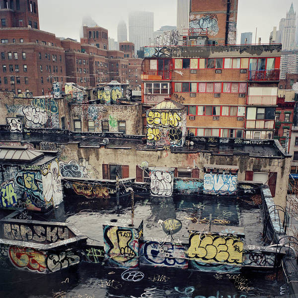 Wall Art - Photograph - Rooftop Graffiti Chinatown New York by Kevin Trageser