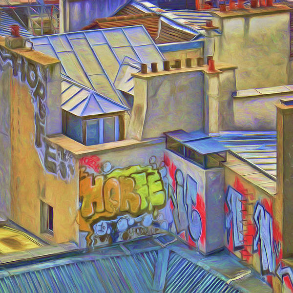 Wall Art - Photograph - Rooftops And Graffiti by Nikolyn McDonald