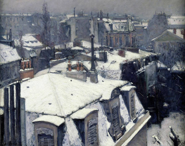 Wall Art - Painting - Rooftops In The Snow, Snow Effect - Digital Remastered Edition by Gustave Caillebotte