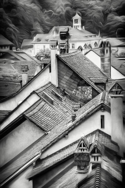 Across Photograph - Rooftops Of Bern Switzerland In Black And White by Carol Japp
