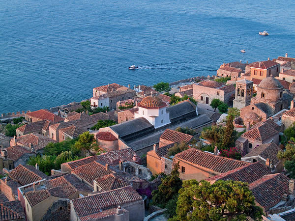 Peloponnese Photograph - Rooftops Of Medieval Town Of Monemvasia by George Tsafos