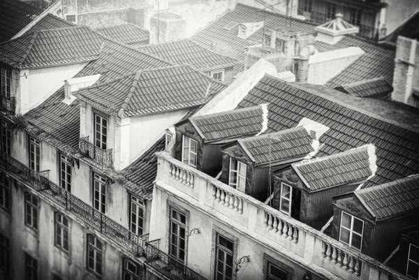Wall Art - Photograph - Rooftops Of Old Alfama Lisbon Black And White by Carol Japp