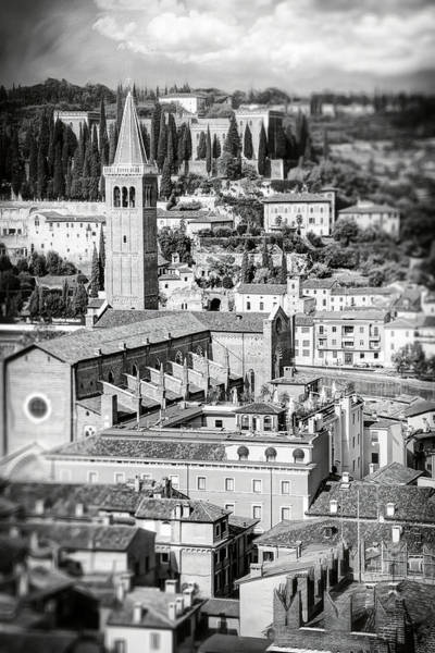 Wall Art - Photograph - Rooftops Of Verona Italy Black And White by Carol Japp