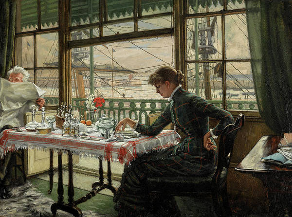 Wall Art - Painting - Room Overlooking The Harbour by James Tissot