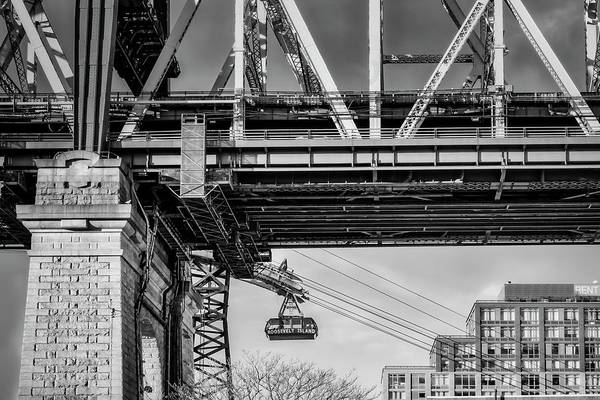 Roosevelt Island Wall Art - Photograph - Roosevelt Tram Underneath The 59 St Bridge Bw by Susan Candelario