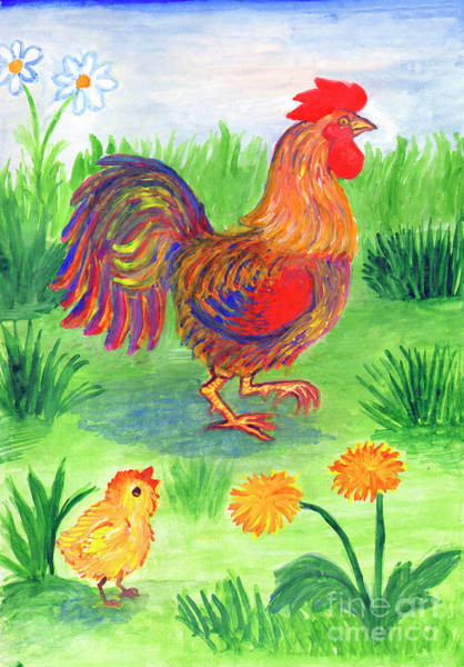 Painting - Rooster And Little Chicken by Irina Dobrotsvet