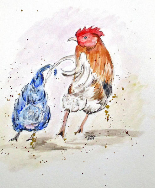Painting - Rooster Butts by Clyde J Kell