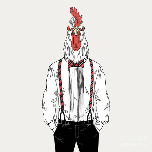 Wall Art - Digital Art - Rooster Dressed Up In Classy Style by Olga angelloz