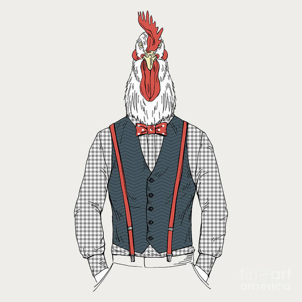 Wall Art - Digital Art - Rooster Dressed Up In Retro Style by Olga angelloz