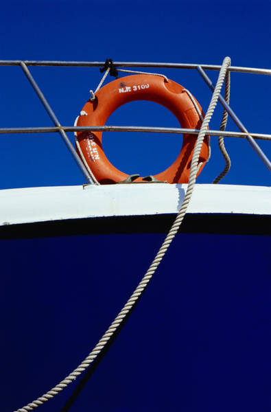 Wall Art - Photograph - Rope And Life Ring On Boat, Crete by Diana Mayfield