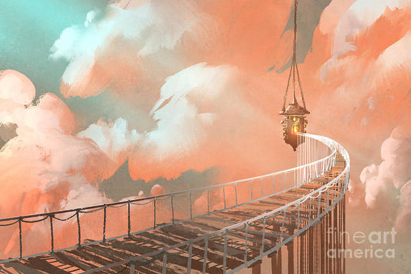 Wall Art - Digital Art - Rope Bridge Leading To The Hanging by Tithi Luadthong