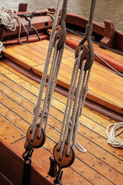Wall Art - Photograph - Ropes On Boat Anchored In Rotterdam by Adam Jones