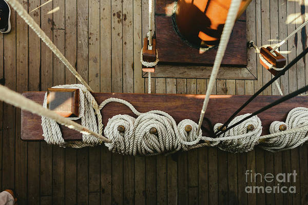 Ropes To Hold The Sails Of An Old Sailboat Rolled. Art Print