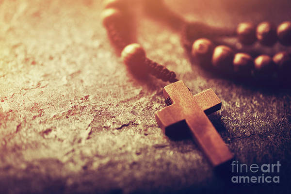 Photograph - Rosary With Wooden Cross On Stone Background. by Michal Bednarek