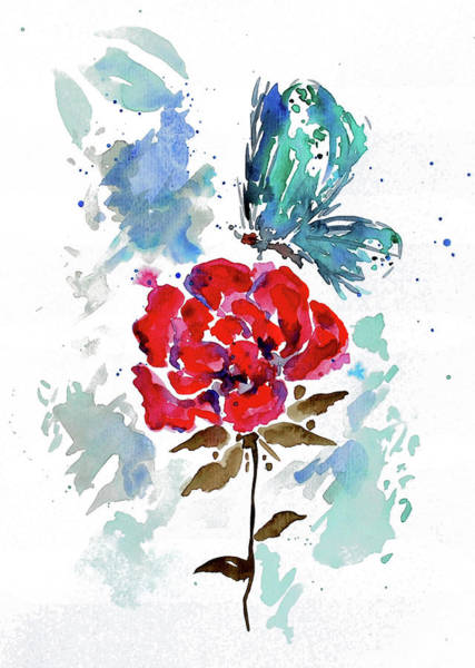 Painting - Rose And Butterfly by ZeichenbloQ