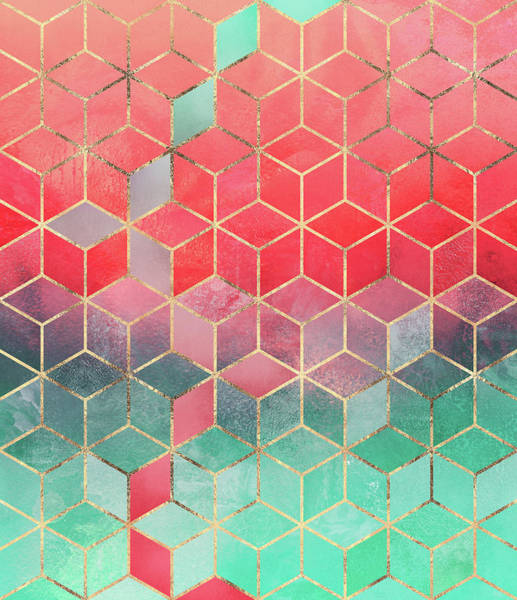 Cube Wall Art - Digital Art - Rose And Turquoise Cubes by Elisabeth Fredriksson