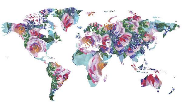 Wall Art - Painting - Rose Impression World Map  by Irina Sztukowski