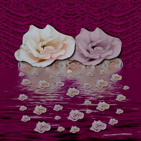Divine Love Mixed Media - Rose Island In The Night Of Love by Pepita Selles
