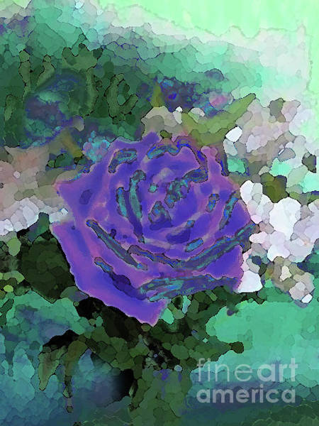 Mixed Media - Rose Of Purple And Green by Corinne Carroll