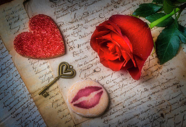 Wall Art - Photograph - Rose On Old Letters With Cookies by Garry Gay