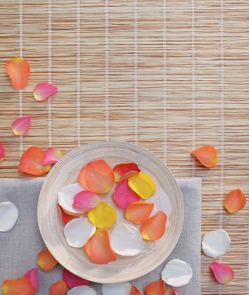 Petal Photograph - Rose Petals In A Water Bowl And Towel by Gregor Schuster