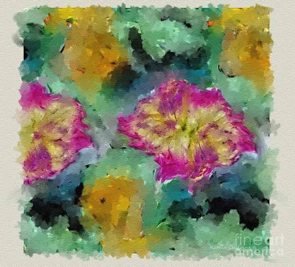 Digital Art - Rose-tipped Dahlias by Kathie Chicoine