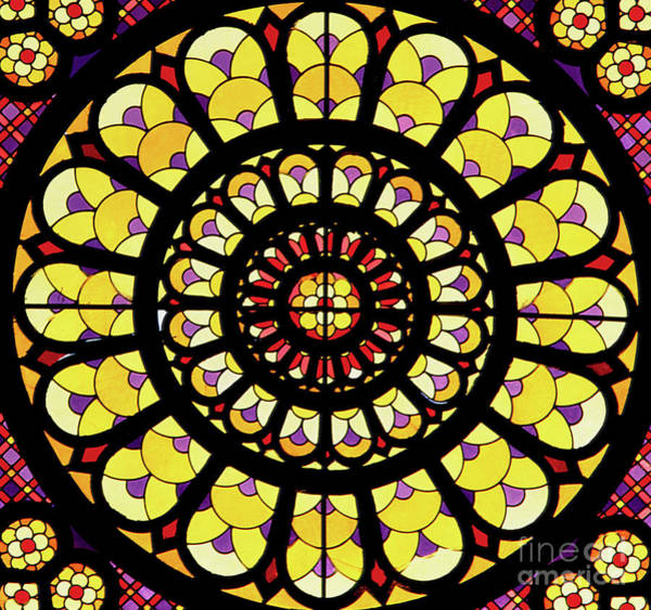 Wall Art - Glass Art - Rose Window Stained Glass by French School