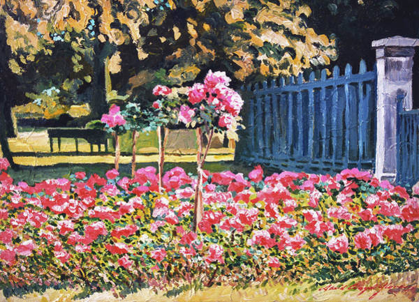 Painting - Roses Along The Blue Fence by David Lloyd Glover